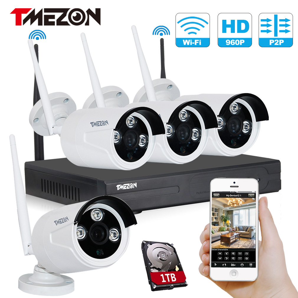 Water proof 1.3MP 4CH Wireless WiFi NVR IP Camera Kits with Long Distance Signal