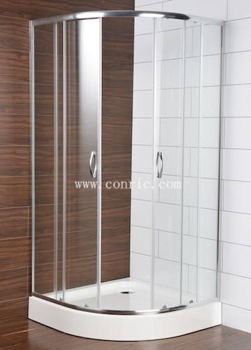 Corner chrome shower door with sector tray