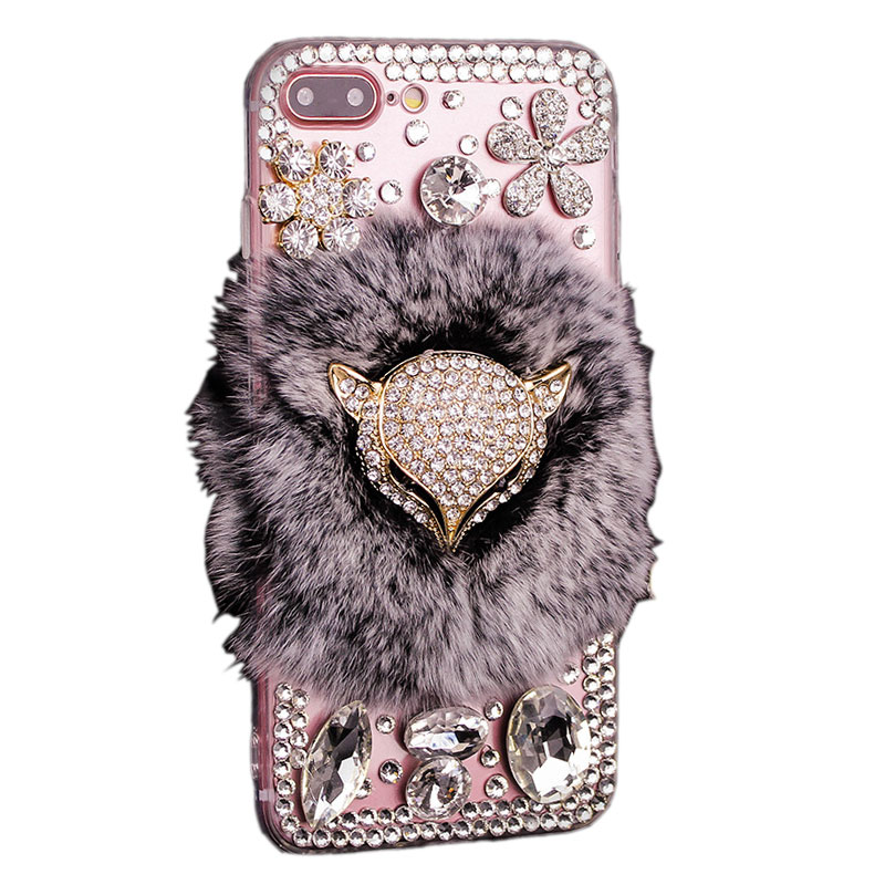 Luxury Crystals Rex Rabbit Fur Cell Phone Case for iPhone X/8/7/6splus Samsung S6/S7/S8+