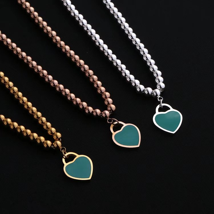 green&blue&pink heart bead necklace,high quality jewelry