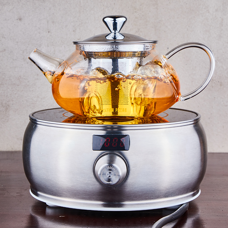 Glass Teapot Kettle with Stainless Steel Infuser - Stovetop Safe - Blooming and Loose Leaf Tea - Lar