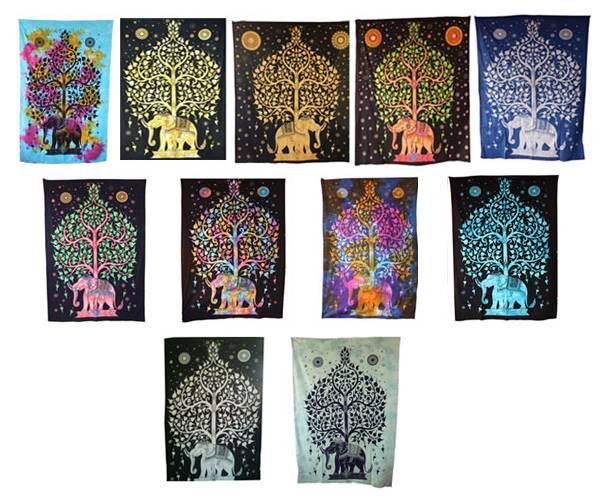 Handicrunch | Indian  Traditional Tree Of Life Tapestry Wall Hanging