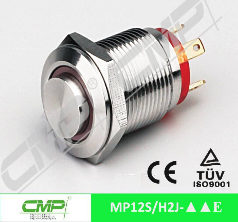 12mm metal waterproof LED stainless steel push button switch