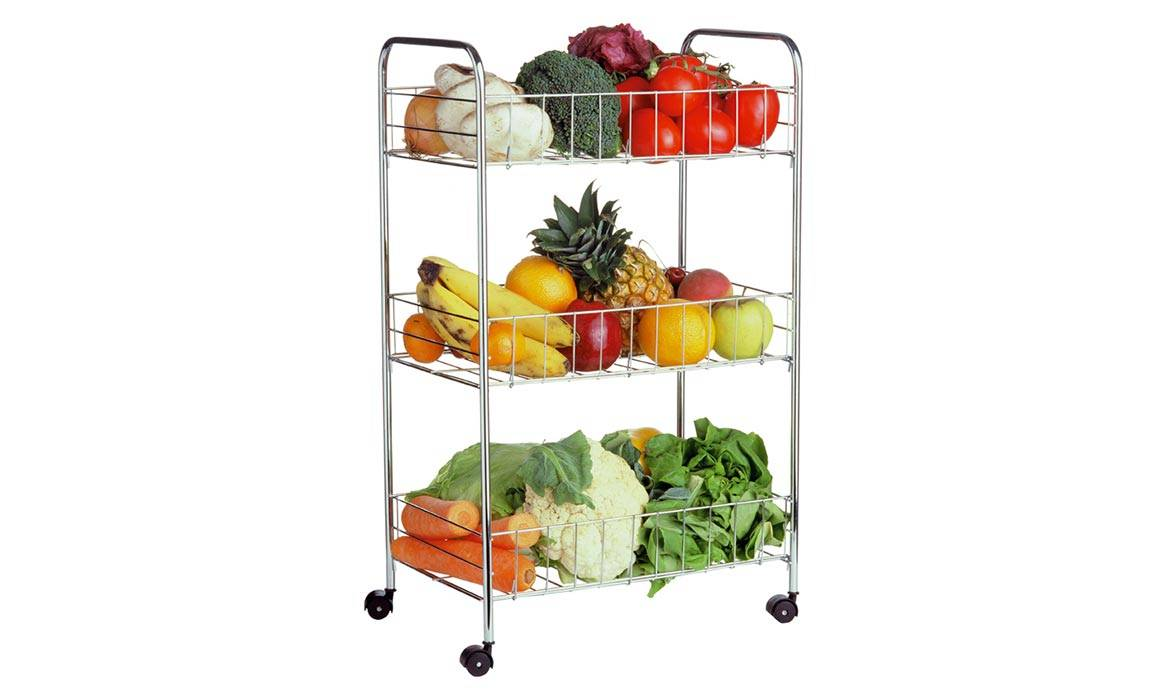 Storage Cart, Mobile, 3 Tiers of Folding Shelves