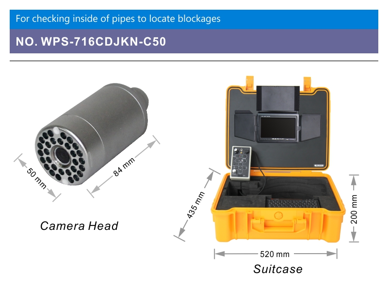 WOPSON sewer pipe inspection camera with 512 hz locator transmitter