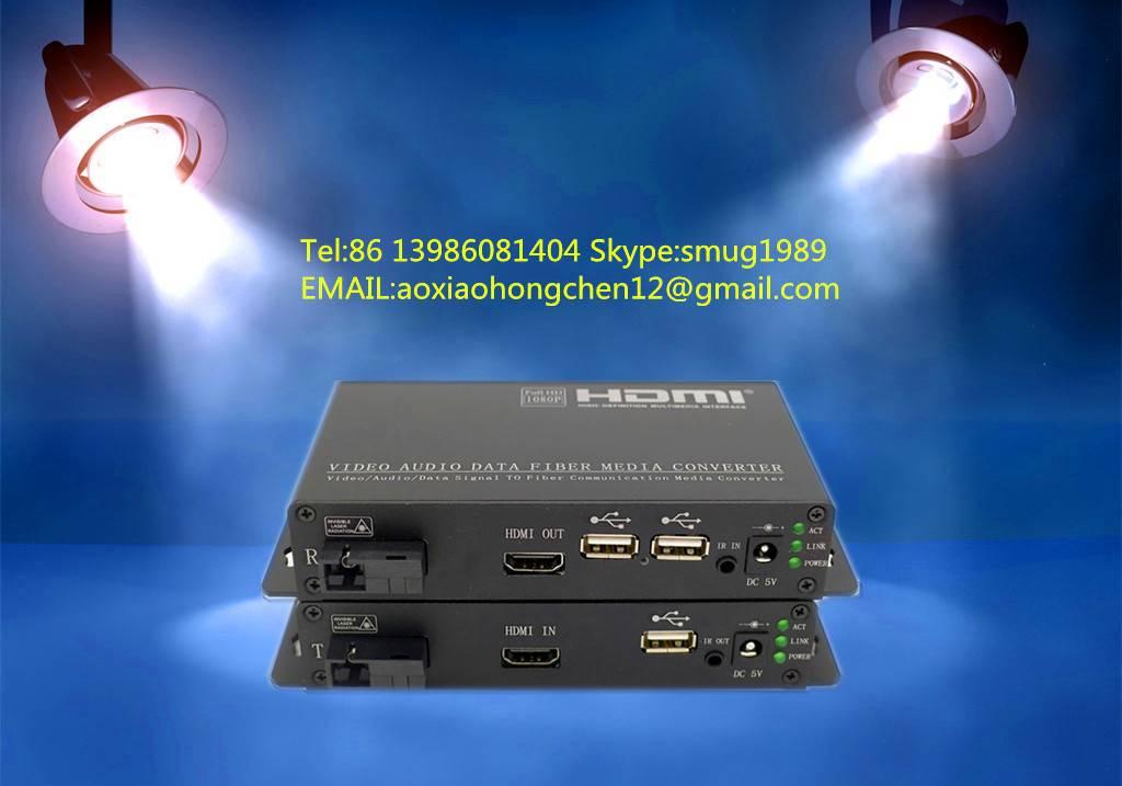 KVM fiber optic extender,support HDMI+USB+IR signals transmission over 1 fiber to 100KM for remote v