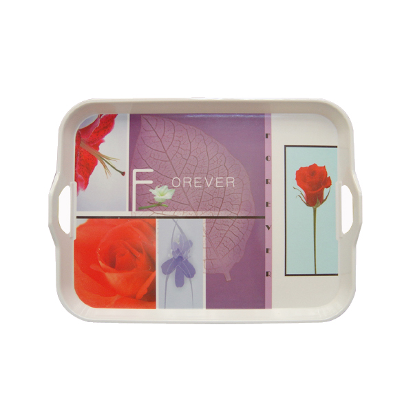 Melamine shiny finish food tray with handles
