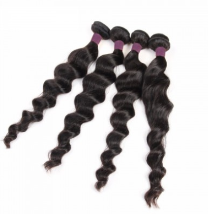 [9A]4 Bundles Peruvian Hair Weave Loose Wave with 360 Lace frontal