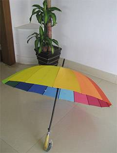 Straight Auto Pongee Rainbow Umbrella,Advertising Umbrella