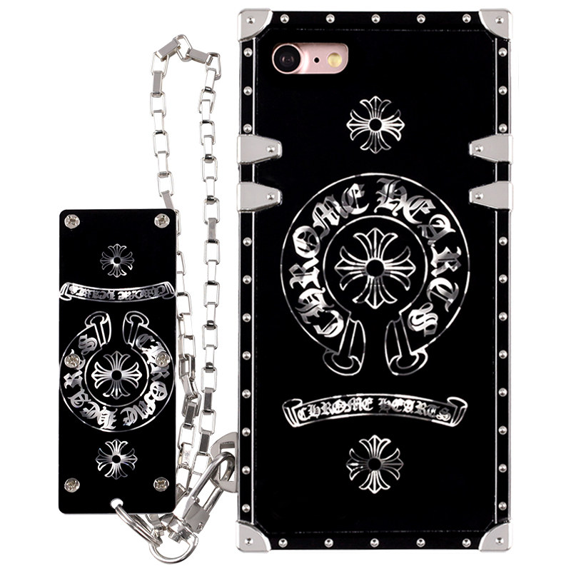 Stylish Black Silicone Shockproof Chain Customised Phone Case for iPhone 6S/7/8 Plus