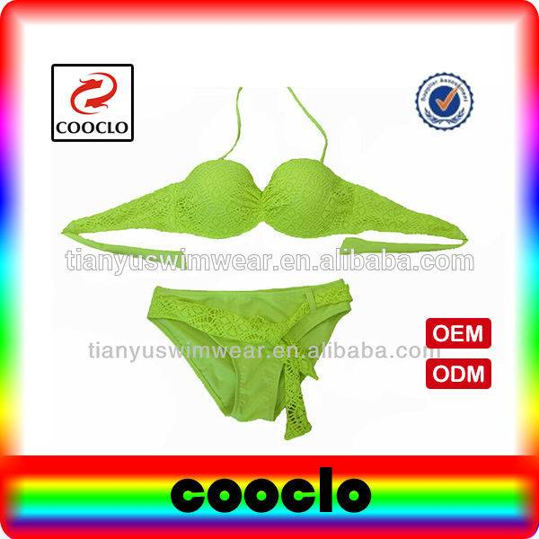 Different Experience in the summer green colour women's swimwear