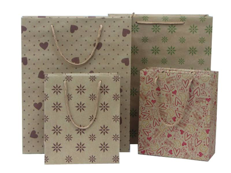 cheap recyclable durable kraft paper shopping bag