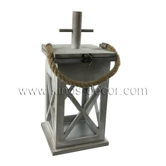 Coutryside wood candle lantern with cross and rope handle