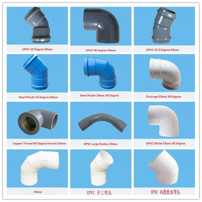 2015 hot sale pvc plastic 45 degree pipe fittings elbow made in China with good price