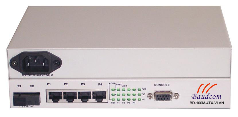 4 ports 100M ethernet VLAN Media Converter