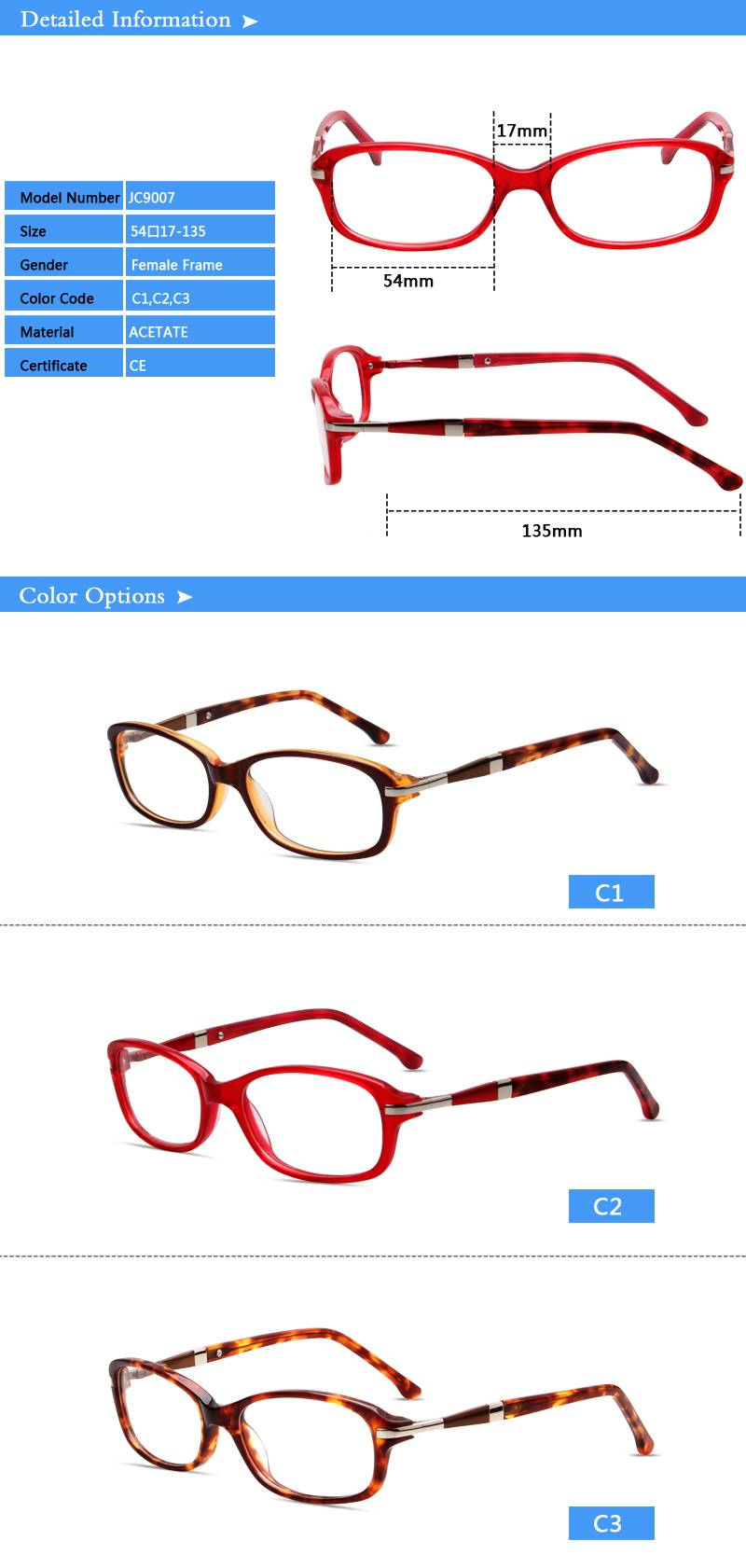 Fashion design acetate eyewear optical frame JC9007 ready in stock