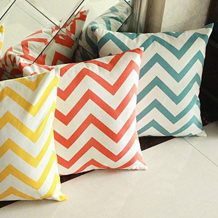100% cotton chevron decorative pillow case