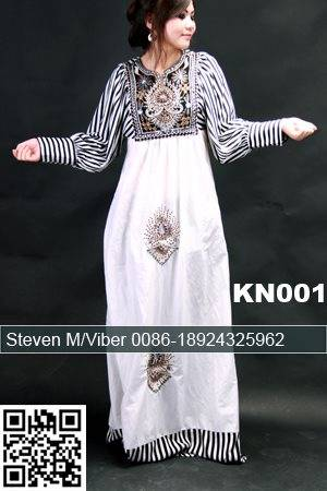 Chiffon Embroidery Beaded Kaftan Long Dress Party Dress