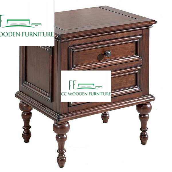 Pastoral style American country Ash wooden bedside table nightstand