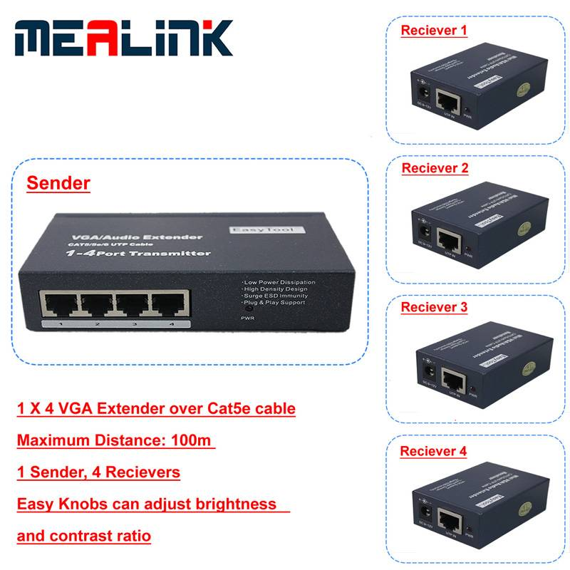 1 to 4 VGA Extender Over Cat5e Cable (YL3504-100m)