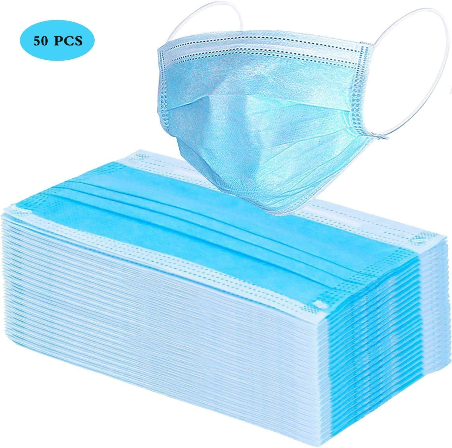 Thick 3-Ply Face Shield with Elastic Ear Loop Cover Full Face Anti-bacterial