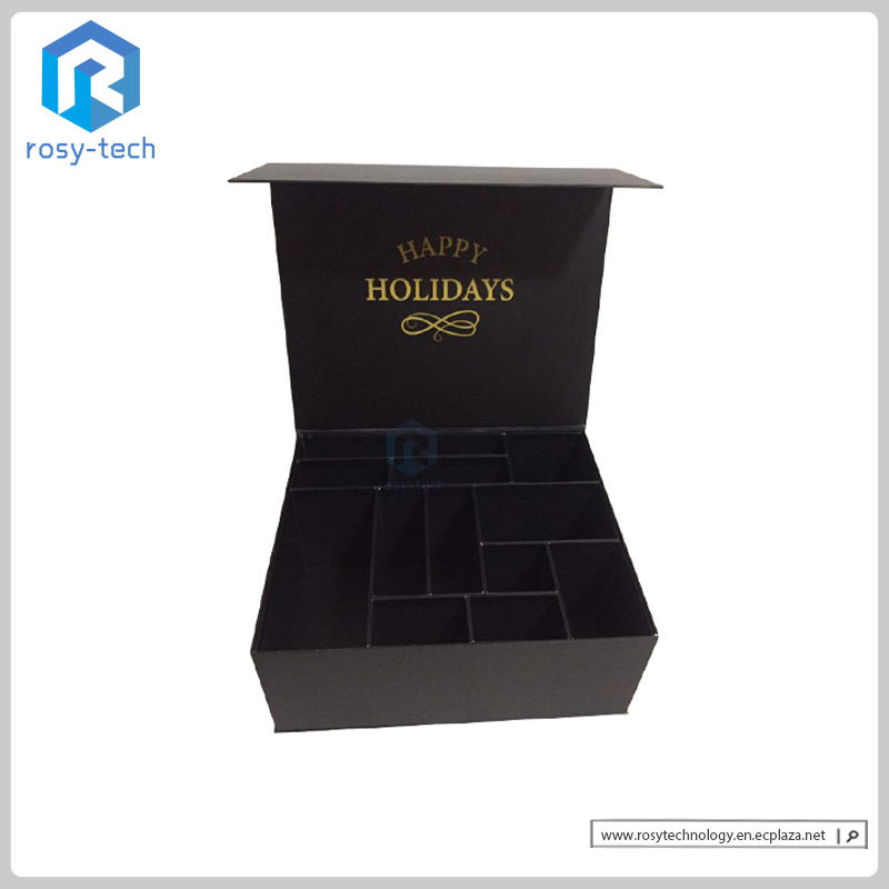 Promotional Customized Rigid Paperboard Box With Cells For Christmas Gifts