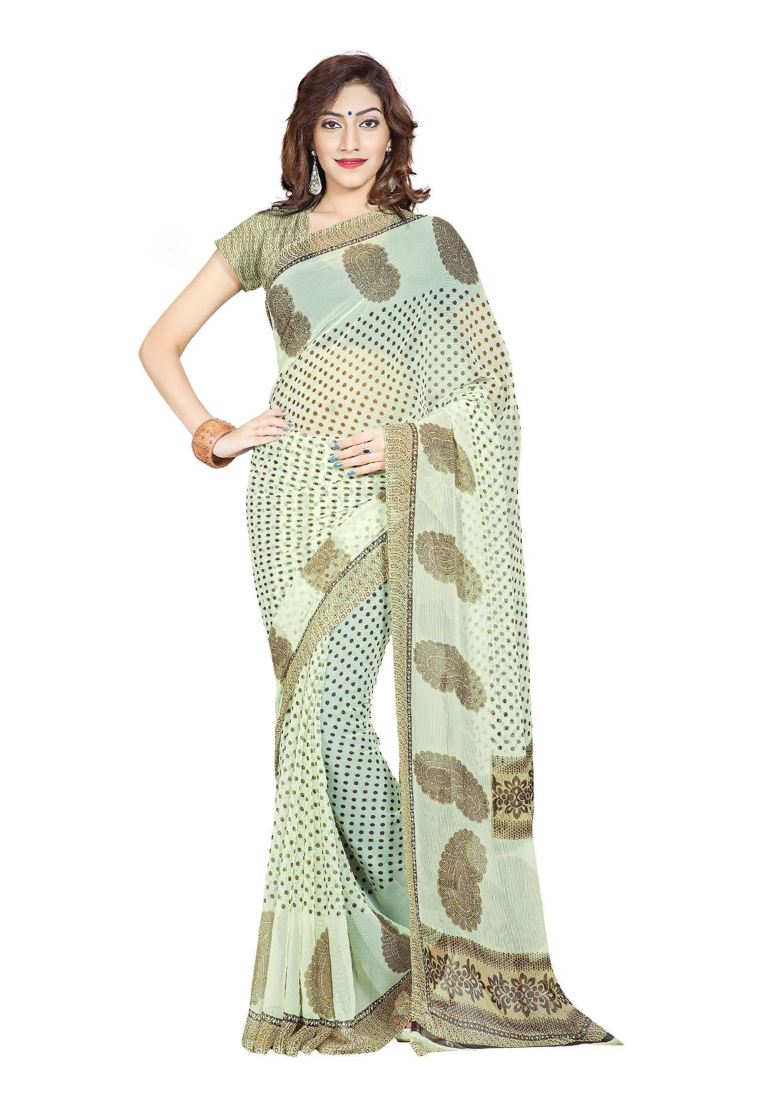 Ambaji Casual Wear Olive Green Colored Printed Chiffon Saree/Sari