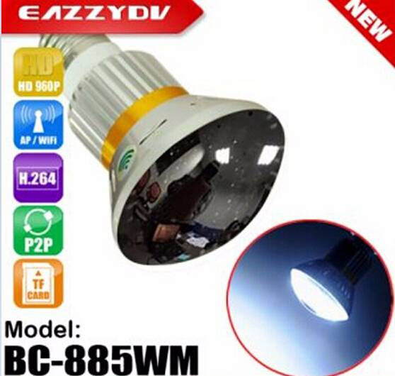 BC-885WM Mirror Bulb security WiFi P2P IP DVR Camera with 5W White LED Light