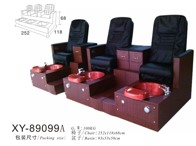 Triple Seats Salon Spa Pedicure Chair Foot Massage XY-89099A