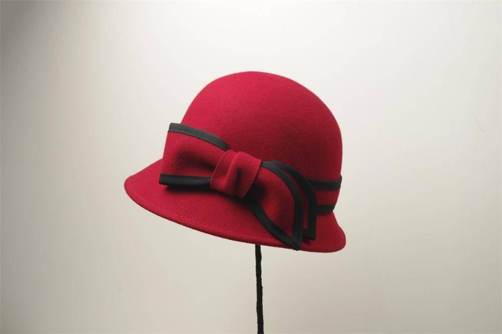 Red Women Winter Wool Bucket Hat (FW002222)