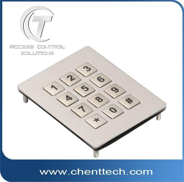 IP68 waterproof metal numeric matrix keypad with 12 keys