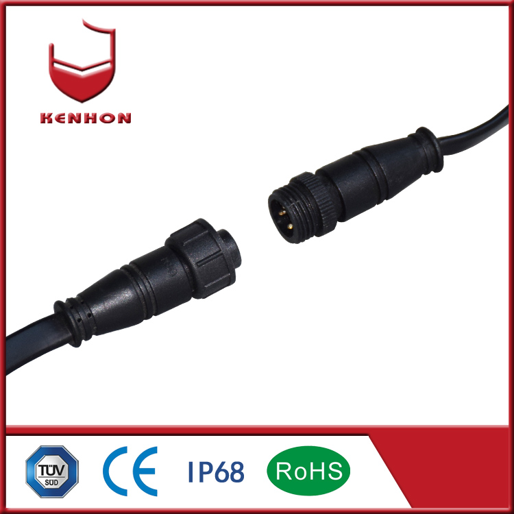 M15 IP67 2 pin waterproof cable low voltage wire connectors for outdoor