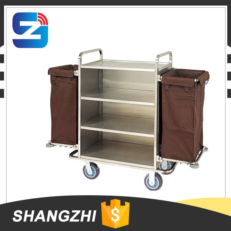 hotel stainless steel serving trolley housekeeping trolley
