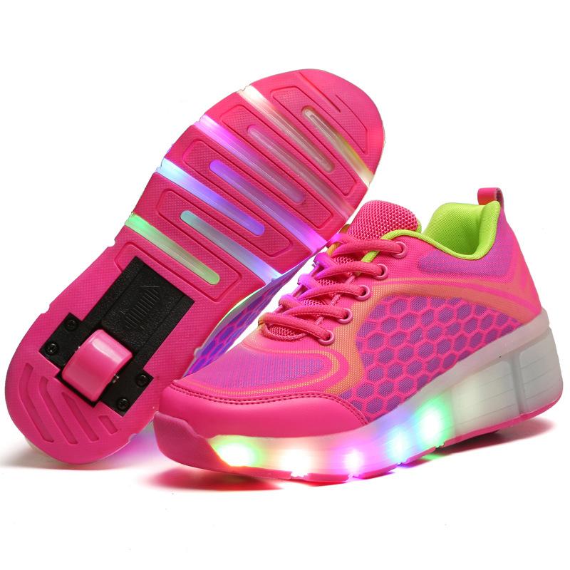 children sport 1 or 2 wheel roller skate shoes