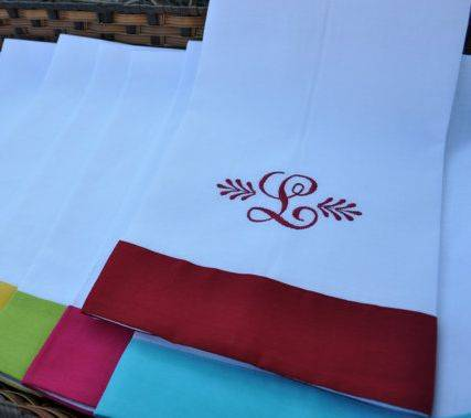 Xmas monogrammed color bordered Linen guest towel