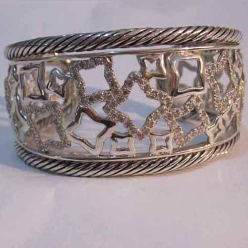 Sterling Silver Jewelry Pave Cz Diamonds Bracelet (B-083)