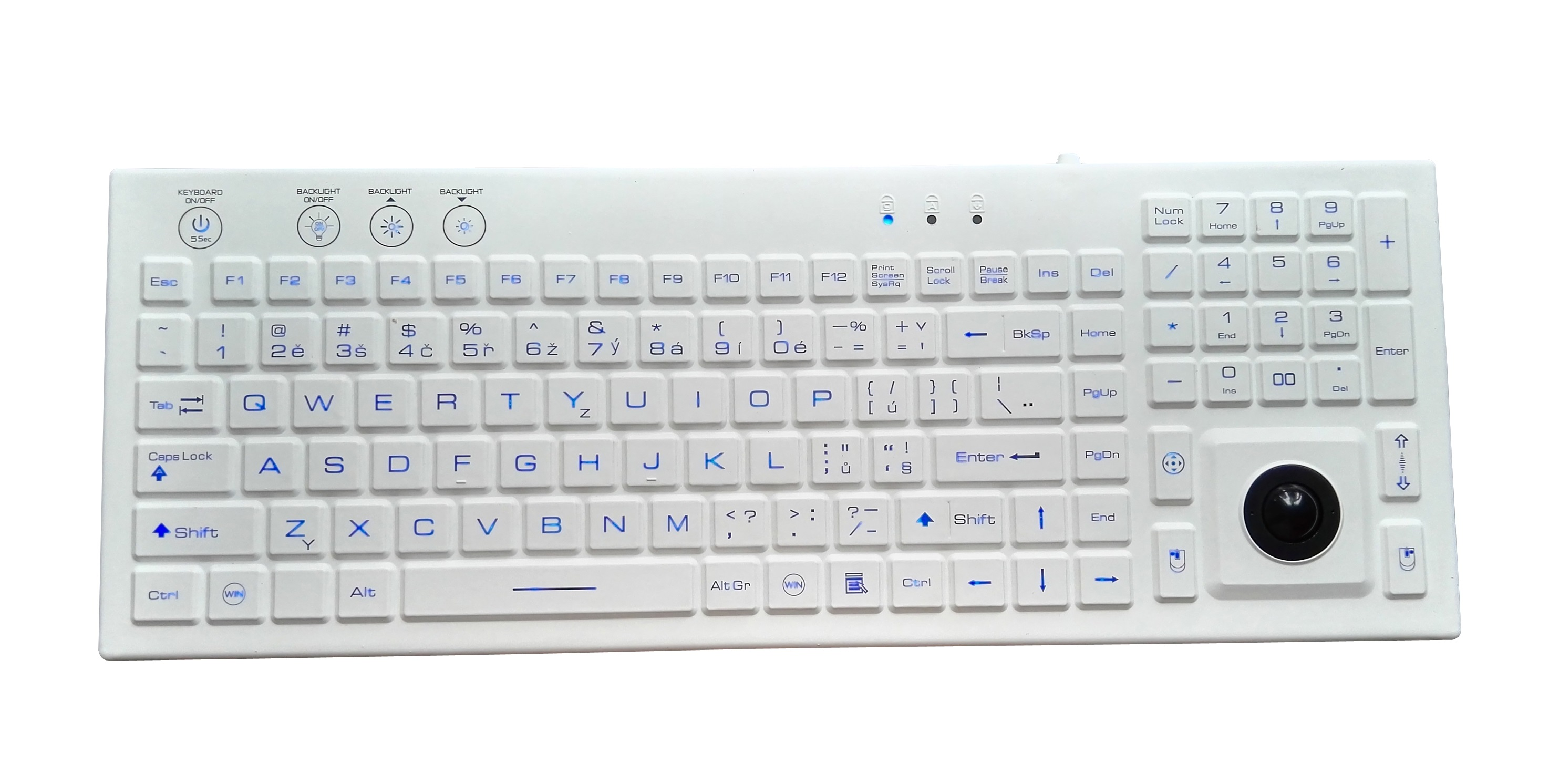 industrial silicone keyboard with trackball mouse and backlight