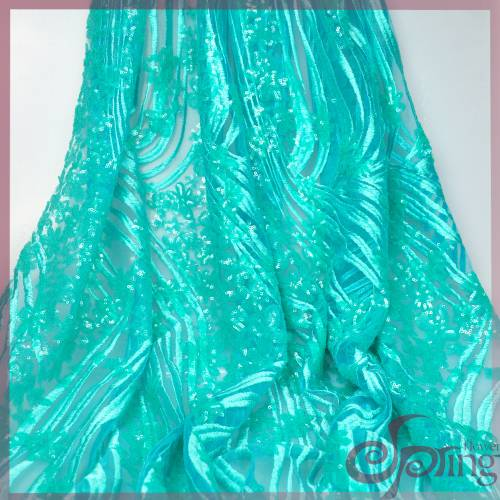 Green embroidery mesh fabric, sequin lace fabric for dress