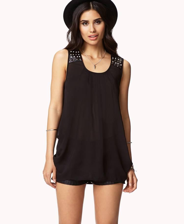 Sleeveless Women Fashion Black Chiffon Blouse (S303060)
