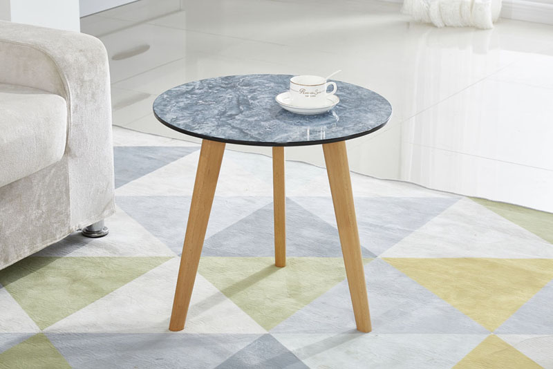 Original Design High Imitation Marble Effect Golden Metal Legs Side Table