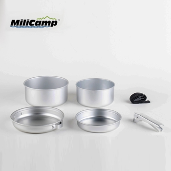 Lightweight aluminum camping cooking set
