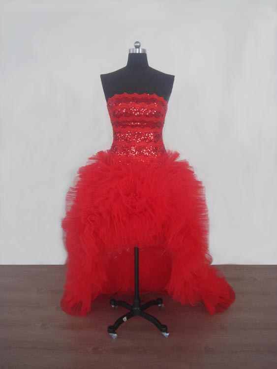 High Low Strapless Red Party Dresses with train