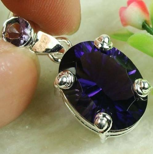 925 Sterling Silver Amethyst Gemstone Pendant