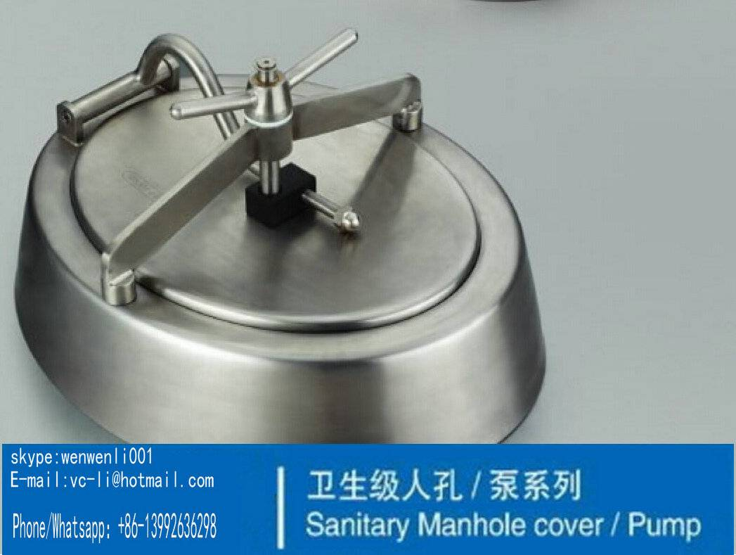 430x330mm SS304 Shadowless Oval Inward Opening Stainless Manways Sanitary Manhole Cover