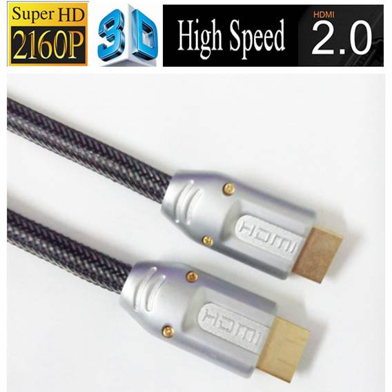 24k Gold Plated High end high speed 4k 3D HDMI 2.0 cable with 2160p ethernet for HDTV computer andro
