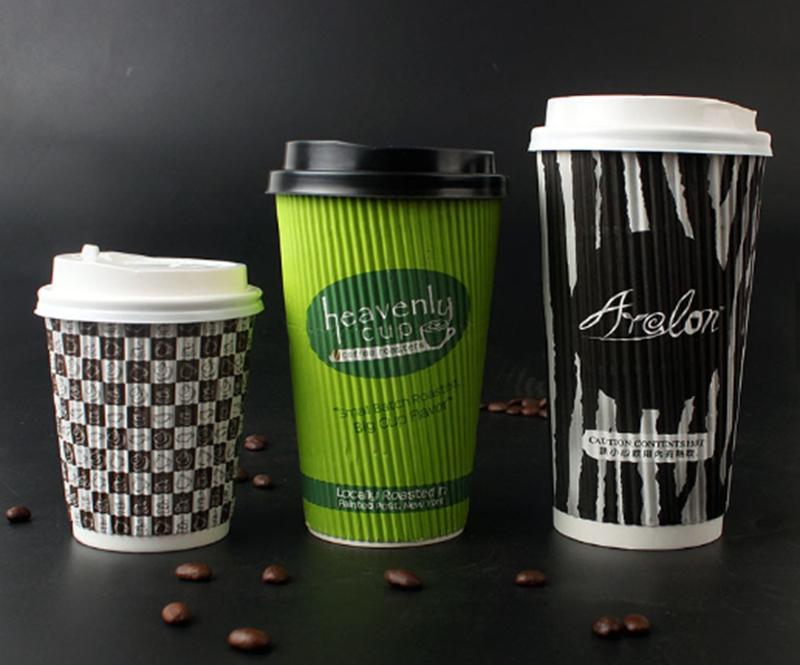 8oz custom logo printed ripple wall hot coffee paper cup