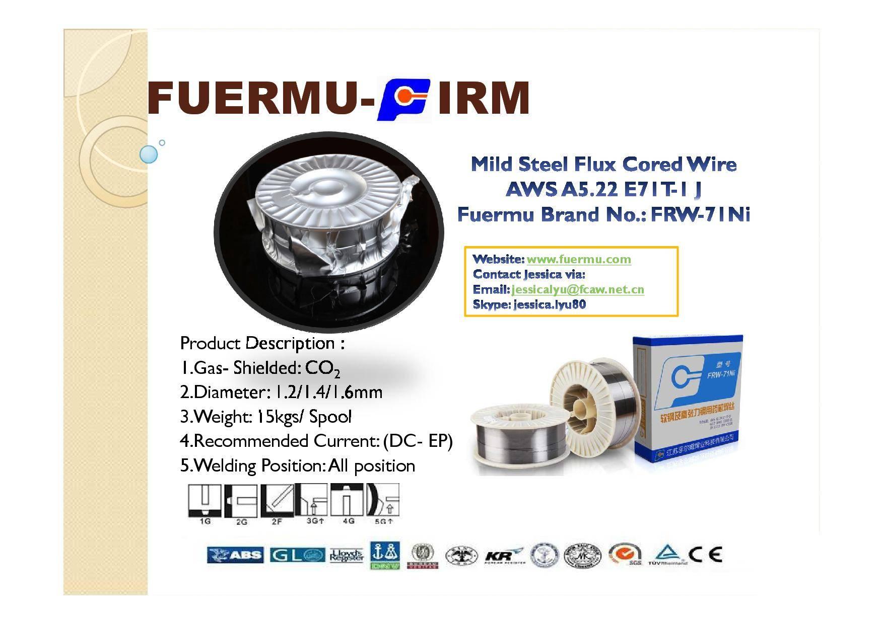 E71T-1J Flux Cored Welding Wire, Fuermu Brand: FRW-71Ni