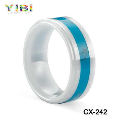jewelry manufacturer china turquoise inlaid ceramic ring