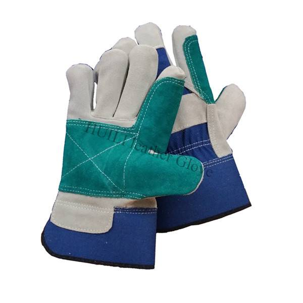 High quality double palm leather worker gloves with CE certification