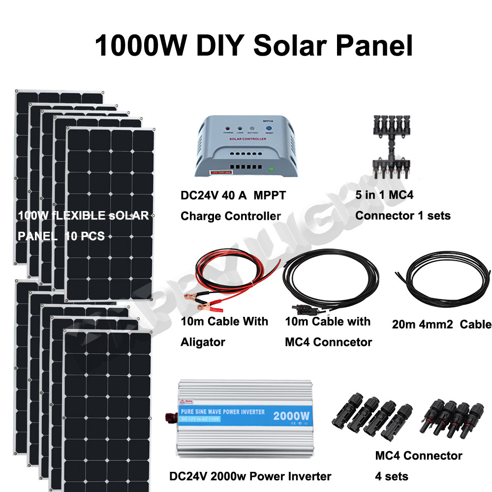 1000W DIY SOLAR ENERGY SYSTEM FOR HOME USE